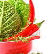 Savoy cabbage and chili. — Stock Photo