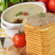 Pate, tomatoes and creckers. — Stock Photo