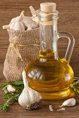 Ajo y aceite de oliva. — Foto de Stock