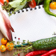 Notebook and vegetables. — Stock Photo