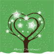 Christmas tree heart shape card — Stock Vector