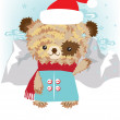 Stock Vector: Teddy bear in snowy lanscape