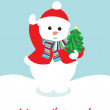 Cute snow man holding christmas tree card — Stock Vector