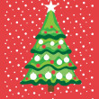 Christmas tree in snow card — Stock Vector #6539766
