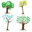 Four types of trees — Stock Vector