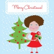 Little girl and christmas tree card — Stock Vector