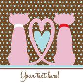 Dos gatos en el amor romántico tarjeta — Vector de stock