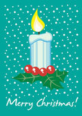 Christmas candle card — Stock Vector