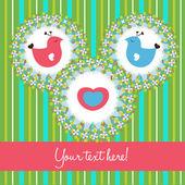 Fågel kärlek söta kort — Stockvektor