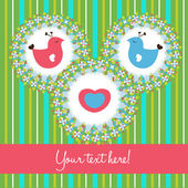 Kuş sevgi sevimli kartı — Stok Vektör