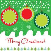 Decorative christmas globes card — Stock Vector