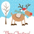 Christmas deer card — Stock Vector
