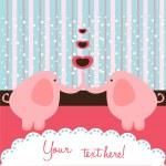 Elephant love card — Stock Vector #6540051