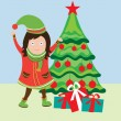 Happy girl near christmas tree — Stock Vector #6540073