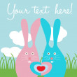 Cute rabbit love card — Stock Vector