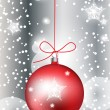 Vector de stock : Red christmas globe in sparkling snow