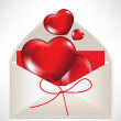 Valentine envelope with red hearts — Stock Vector