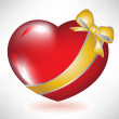 Red heart with golden bow — Vector de stock #6540863