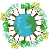 Trees on planet earth globe — Stock Vector