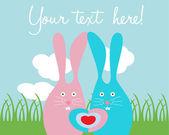 Cute rabbit love card — Stock Vector