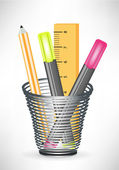Markers pencil and ruler in office cup — Vecteur