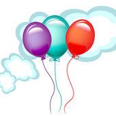 Three balloons in the sky — Stock Vector