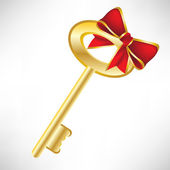 Golden key with red bow — Stock Vector