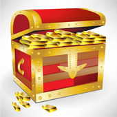 Open chest with golden treasure — Stock Vector