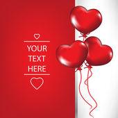 Tarjeta de san valentín con globos en forma de corazón — Vector de stock