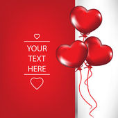 Valentine card with heart shaped balloons — Cтоковый вектор