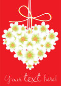 Heart shaped flowers card — Stock Vector