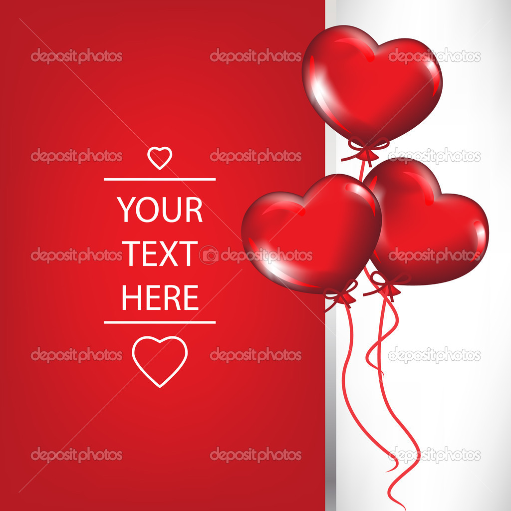 card with heart shaped balloons Vector 6540618 – Heart Shaped Valentine Cards