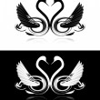 Set of black and white swans — Vector de stock