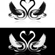 Set of black and white swans - Stock Vector