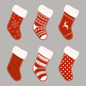 Christmas socks collection — Stock Vector