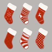 Christmas socks collection — Stock Vector