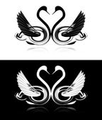Set of black and white swans — Stockvector