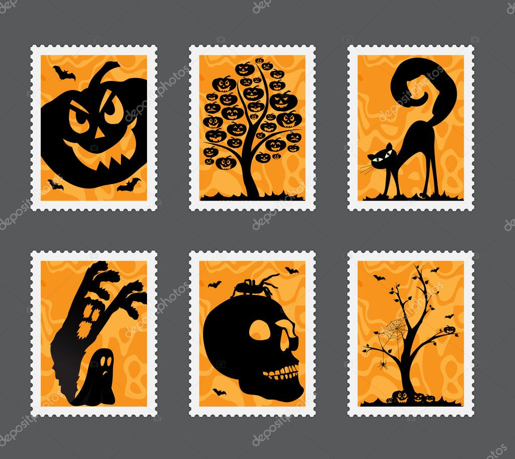 Collection of Halloween stamps with different motives — Stock Vector #6535219