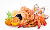 Crabs, mussels, shrimps — Stock Photo