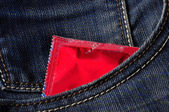 Condom in pocket — Stockfoto