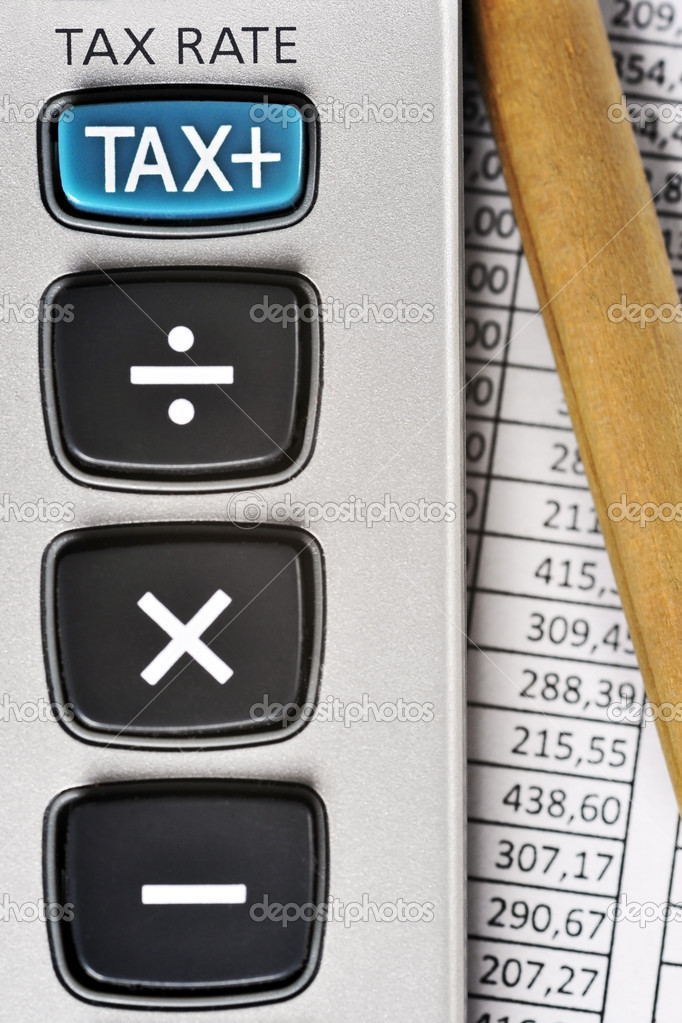 Detail of calculator, focusing the TAX key, next to a sheet of paper with numbers and a pencil. — Stock Photo #6582245