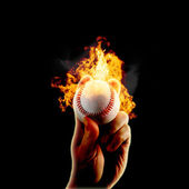 Baseball flames fire hand — Stock Photo