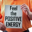 Feel the positive energy sign — Stock Photo