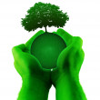 Green hands planet tree — Stock Photo #6655385