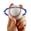 Hand holds baseball text circle — Stock Photo