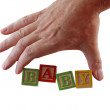 Hand word baby — Stock Photo