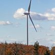 One power generating wind turbine autumn colors — Stock Photo
