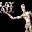 Play ball manikin text baseballs — Stock Photo #6656562