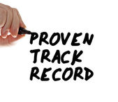 Proven track record hand writing — Stock Photo