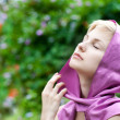 Beautiful woman with pink veil - Stock Photo